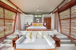 A bedroom in one of the family villas Tri Lanka